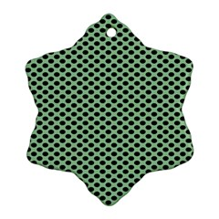 Polka Dot Green Black Snowflake Ornament (two Sides) by Mariart