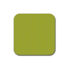 Polka Dot Green Yellow Rubber Coaster (square)  by Mariart