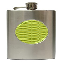 Polka Dot Green Yellow Hip Flask (6 Oz) by Mariart
