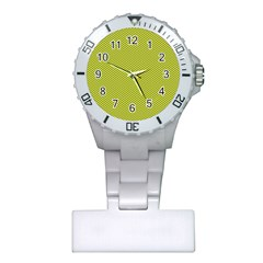 Polka Dot Green Yellow Plastic Nurses Watch by Mariart