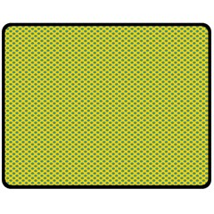 Polka Dot Green Yellow Double Sided Fleece Blanket (medium)  by Mariart