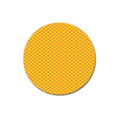 Polka Dot Orange Yellow Magnet 3  (round) by Mariart