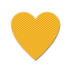 Polka Dot Orange Yellow Heart Magnet by Mariart
