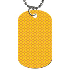 Polka Dot Orange Yellow Dog Tag (two Sides) by Mariart
