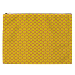 Polka Dot Orange Yellow Cosmetic Bag (xxl)  by Mariart