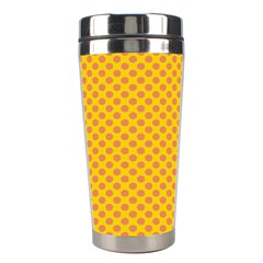 Polka Dot Orange Yellow Stainless Steel Travel Tumblers by Mariart