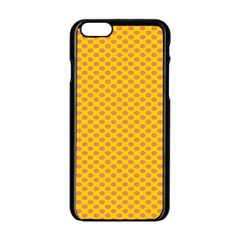Polka Dot Orange Yellow Apple Iphone 6/6s Black Enamel Case by Mariart