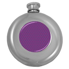Polka Dot Purple Blue Round Hip Flask (5 Oz) by Mariart