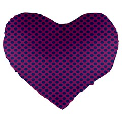 Polka Dot Purple Blue Large 19  Premium Flano Heart Shape Cushions by Mariart