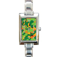 Initial Camouflage Green Orange Yellow Rectangle Italian Charm Watch by Mariart