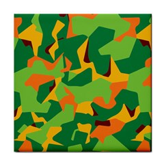 Initial Camouflage Green Orange Yellow Tile Coasters by Mariart