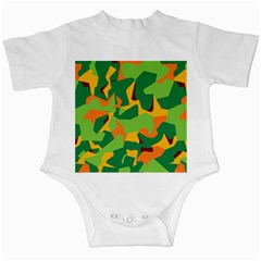 Initial Camouflage Green Orange Yellow Infant Creepers by Mariart