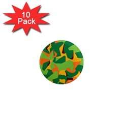 Initial Camouflage Green Orange Yellow 1  Mini Magnet (10 Pack)  by Mariart