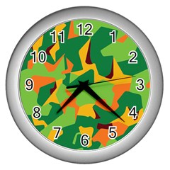 Initial Camouflage Green Orange Yellow Wall Clocks (silver)  by Mariart