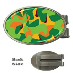Initial Camouflage Green Orange Yellow Money Clips (oval)  by Mariart