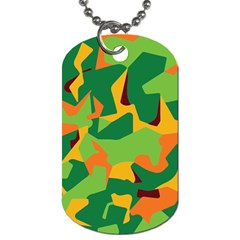 Initial Camouflage Green Orange Yellow Dog Tag (two Sides) by Mariart