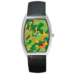 Initial Camouflage Green Orange Yellow Barrel Style Metal Watch by Mariart