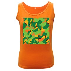 Initial Camouflage Green Orange Yellow Women s Dark Tank Top by Mariart