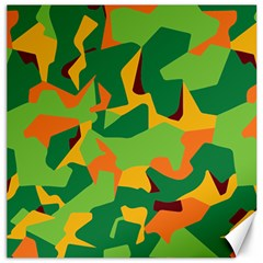 Initial Camouflage Green Orange Yellow Canvas 16  X 16   by Mariart