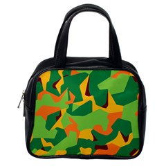 Initial Camouflage Green Orange Yellow Classic Handbags (one Side) by Mariart