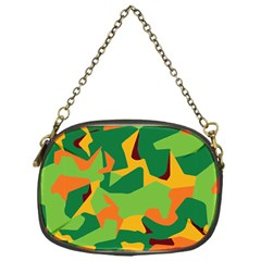 Initial Camouflage Green Orange Yellow Chain Purses (one Side)