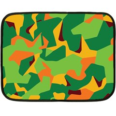 Initial Camouflage Green Orange Yellow Double Sided Fleece Blanket (mini)  by Mariart