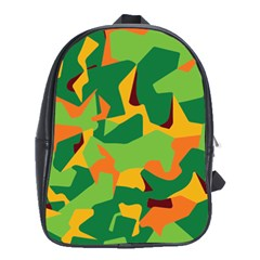 Initial Camouflage Green Orange Yellow School Bags(large)