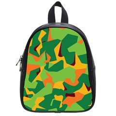 Initial Camouflage Green Orange Yellow School Bags (small)  by Mariart