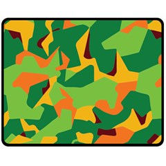 Initial Camouflage Green Orange Yellow Fleece Blanket (medium)  by Mariart