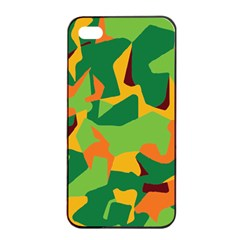 Initial Camouflage Green Orange Yellow Apple Iphone 4/4s Seamless Case (black) by Mariart