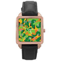Initial Camouflage Green Orange Yellow Rose Gold Leather Watch  by Mariart