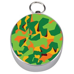 Initial Camouflage Green Orange Yellow Silver Compasses by Mariart