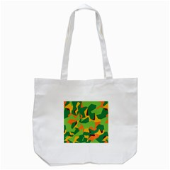 Initial Camouflage Green Orange Yellow Tote Bag (white) by Mariart