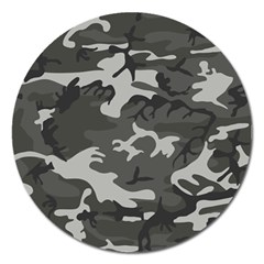 Initial Camouflage Grey Magnet 5  (round) by Mariart