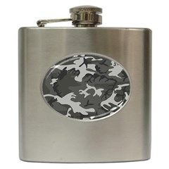 Initial Camouflage Grey Hip Flask (6 Oz) by Mariart