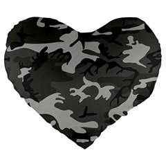 Initial Camouflage Grey Large 19  Premium Flano Heart Shape Cushions by Mariart