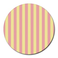 Pink Yellow Stripes Line Round Mousepads by Mariart