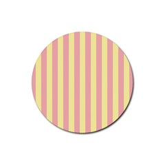 Pink Yellow Stripes Line Rubber Round Coaster (4 Pack)  by Mariart