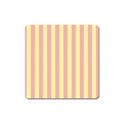 Pink Yellow Stripes Line Square Magnet by Mariart