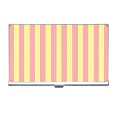 Pink Yellow Stripes Line Business Card Holders by Mariart