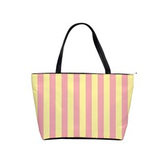 Pink Yellow Stripes Line Shoulder Handbags by Mariart