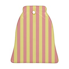 Pink Yellow Stripes Line Ornament (bell) by Mariart