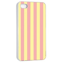 Pink Yellow Stripes Line Apple Iphone 4/4s Seamless Case (white) by Mariart