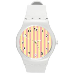 Pink Yellow Stripes Line Round Plastic Sport Watch (m) by Mariart