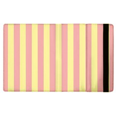 Pink Yellow Stripes Line Apple Ipad 3/4 Flip Case by Mariart
