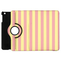 Pink Yellow Stripes Line Apple Ipad Mini Flip 360 Case by Mariart