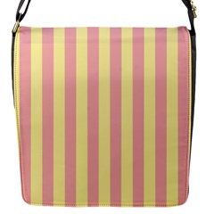 Pink Yellow Stripes Line Flap Messenger Bag (s) by Mariart