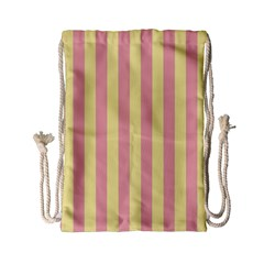 Pink Yellow Stripes Line Drawstring Bag (small) by Mariart