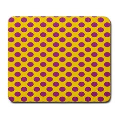 Polka Dot Purple Yellow Large Mousepads by Mariart