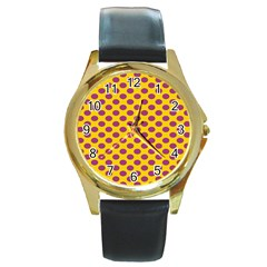 Polka Dot Purple Yellow Round Gold Metal Watch by Mariart